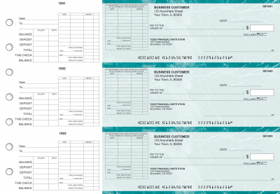 Teal Marble General Itemized Invoice Business Checks | BU3-EMA01-GII