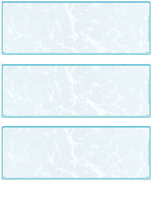 Teal Marble Blank 3 Per Page Laser Checks | L3C-BLA-AM