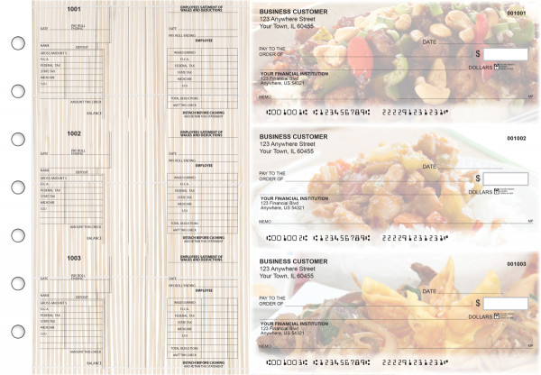 Chinese Cuisine Multi-Purpose Salary Voucher Business Checks | BU3-7CDS04-MPS