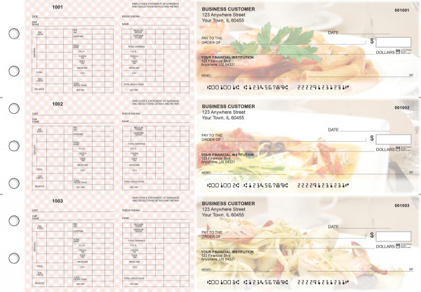 Italian Cuisine Multi-Purpose Hourly Voucher Business Checks | BU3-7CDS05-MPH
