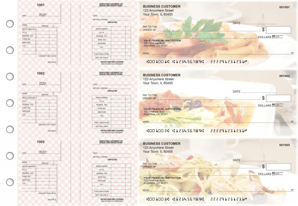 Italian Cuisine Multi-Purpose Salary Voucher Business Checks | BU3-7CDS05-MPS