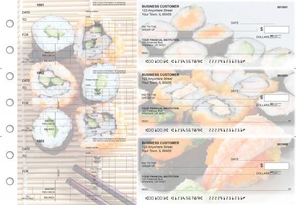 Japanese Cuisine Dual Purpose Voucher Business Checks | BU3-7CDS06-DPV