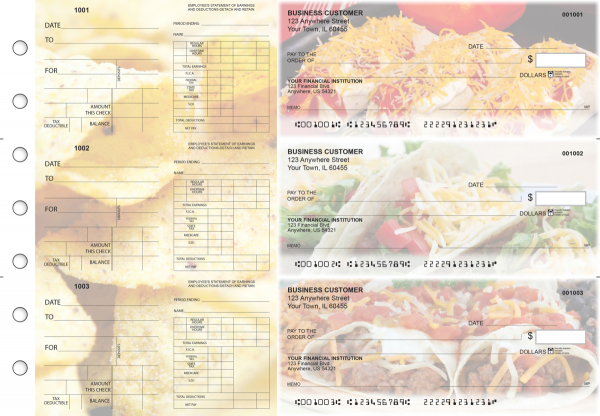 Mexican Cuisine Dual Purpose Voucher Business Checks | BU3-7CDS07-DPV