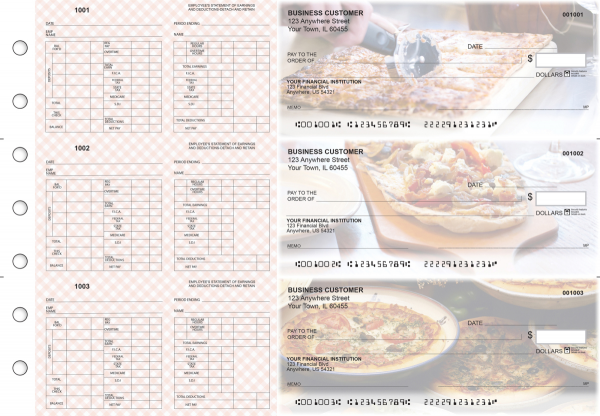 Pizza Multi-Purpose Hourly Voucher Business Checks | BU3-7CDS08-MPH
