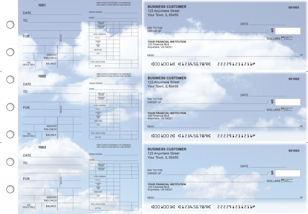 Clouds Dual Purpose Voucher Business Checks | BU3-7CDS21-DPV