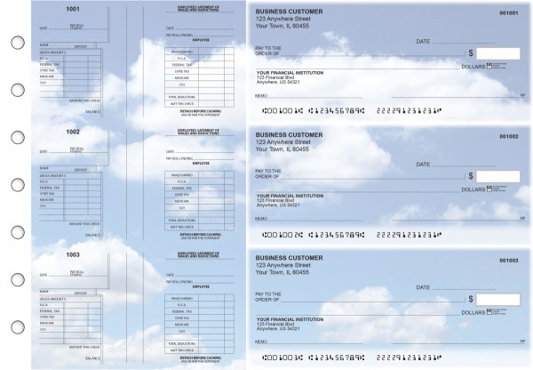 Clouds Multi-Purpose Salary Voucher Business Checks | BU3-7CDS21-MPS