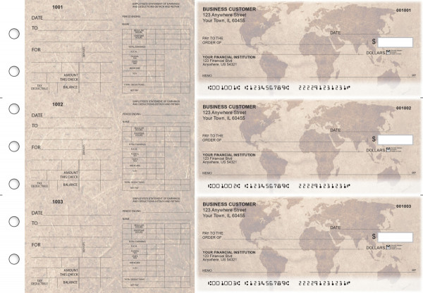 World Map Dual Purpose Voucher Business Checks | BU3-7CDS26-DPV