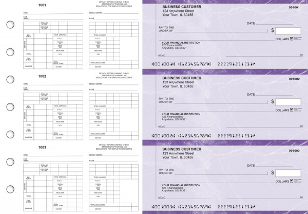 Purple Marble Multi-Purpose Counter Signature Business Checks | BU3-7UMA01-MPC
