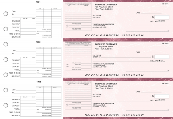 Burgundy Marble General Itemized Invoice Business Checks | BU3-BMA01-GII