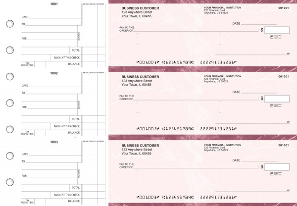 Burgundy Marble Standard Mailer Business Checks | BU3-BMA01-SML