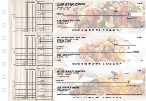Chinese Cuisine Multi Purpose Designer Business Checks  | BU3-CDS04-DEP
