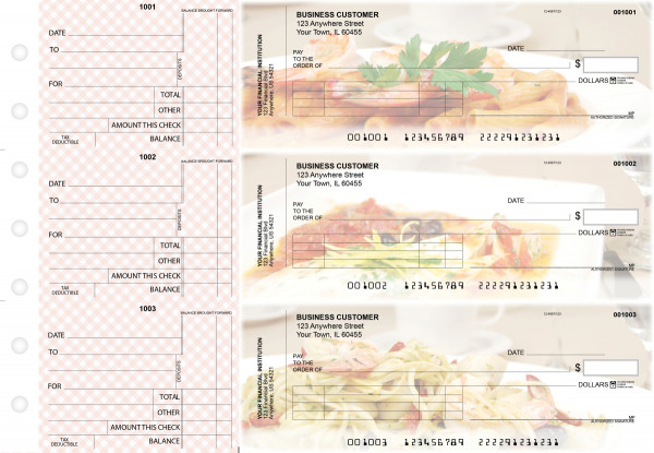 Italian Cuisine Standard Invoice Business Checks | BU3-CDS05-SNV