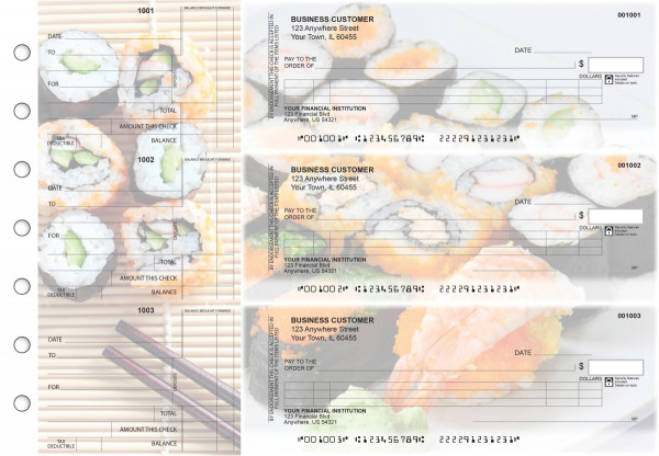 Japanese Cuisine Itemized Counter Signature Business Checks | BU3-CDS06-ICS