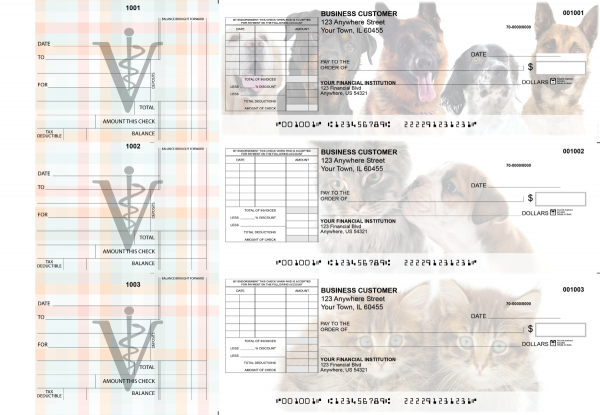 Veterinarian Standard Itemized Invoice Business Checks | BU3-CDS14-SII