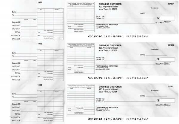 Marble General Itemized Invoice Business Checks | BU3-CDS20-GII