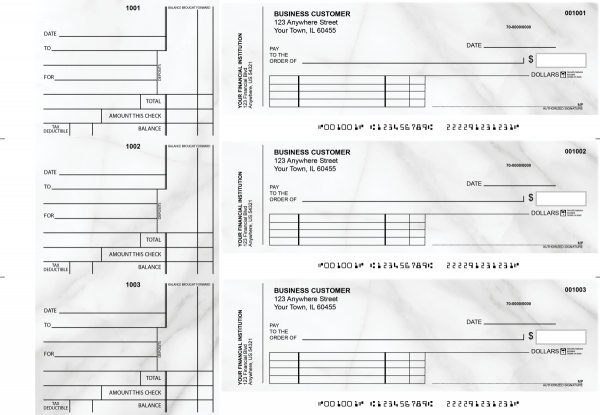 Marble Standard Invoice Business Checks | BU3-CDS20-SNV