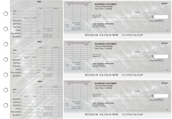 Brushed Metal General Itemized Invoice Business Checks | BU3-CDS23-GII