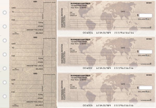 World Map Standard Invoice Business Checks | BU3-CDS26-SNV