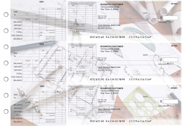 Architect General Itemized Invoice Business Checks | BU3-CDS27-GII