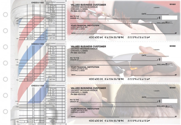 Barber Multi Purpose Designer Business Checks | BU3-CDS28-DEP