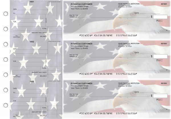 American Flag Standard Mailer Business Checks | BU3-CDS32-SML