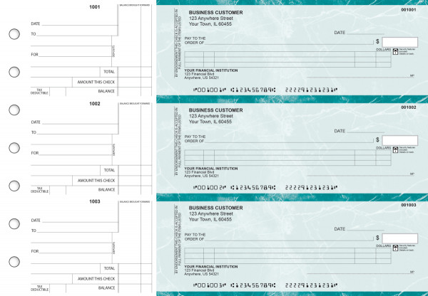 Teal Marble Itemized Counter Signature Business Checks | BU3-EMA01-ICS