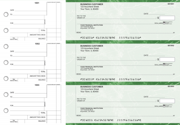 Green Marble Standard Counter Signature Business Checks | BU3-GMA01-SCS