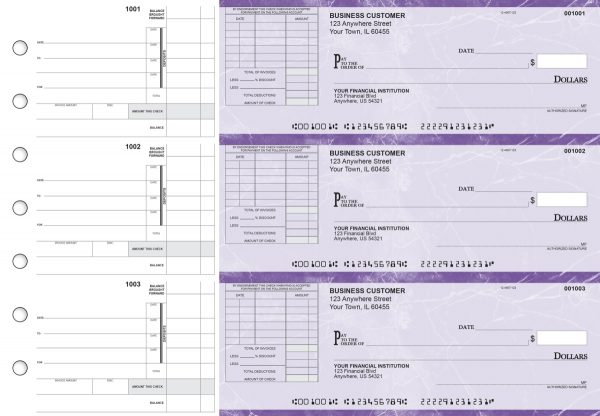 Purple Marble Itemized Invoice Business Checks | BU3-UMA01-TNV
