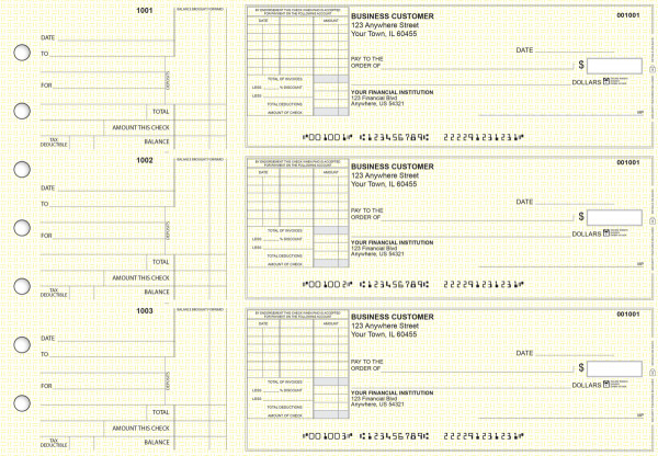 Yellow Knit Standard Itemized Invoice Business Checks | BU3-YEL02-SII