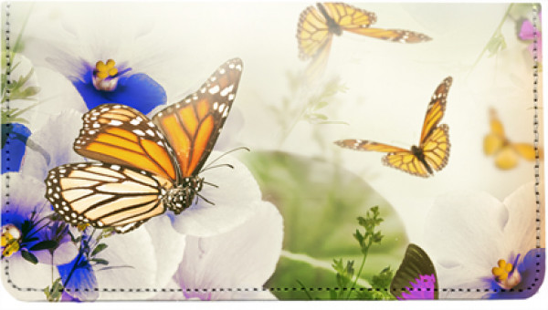 Spring Time Butterflies Leather Checkbook Cover | CDP-NAT80