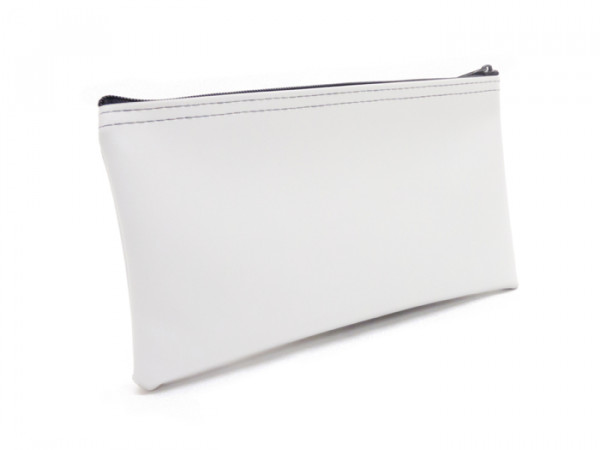 "White Zipper Bank Bag, 5.5"" X 10.5"" 