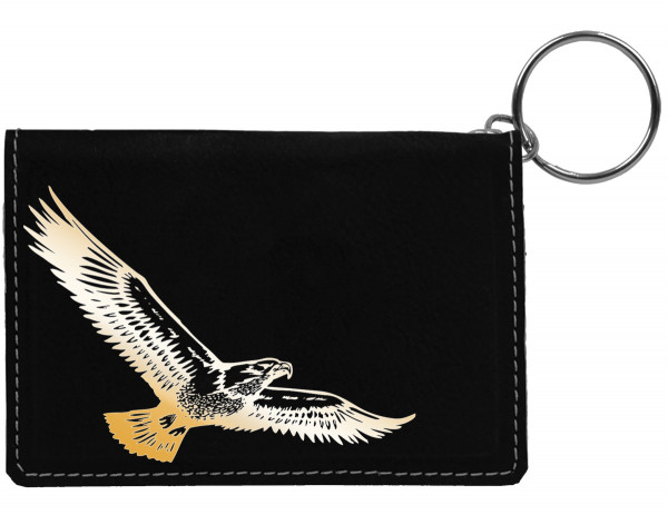 Soaring Eagle Engraved Leather Keychain Wallet | KLE-00010
