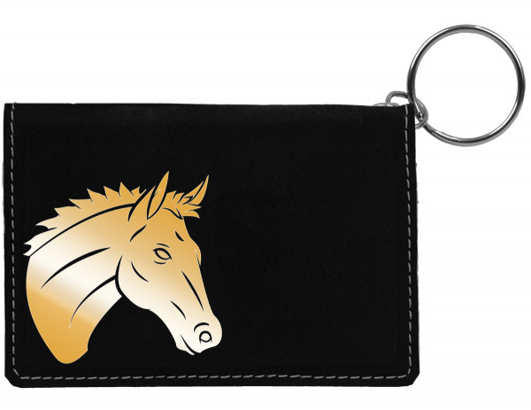 Majestic Horse Engraved Leather Keychain Wallet | KLE-00012