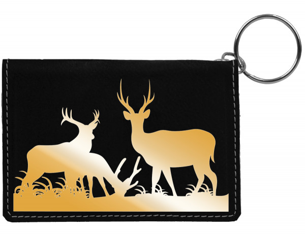 Grazing Buck Engraved Leather Keychain Wallet | KLE-00013