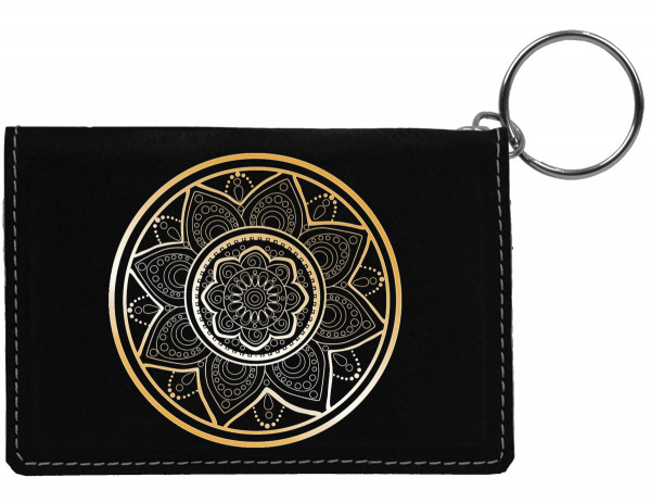 Mandala Engraved Leather Keychain Wallet | KLE-00017