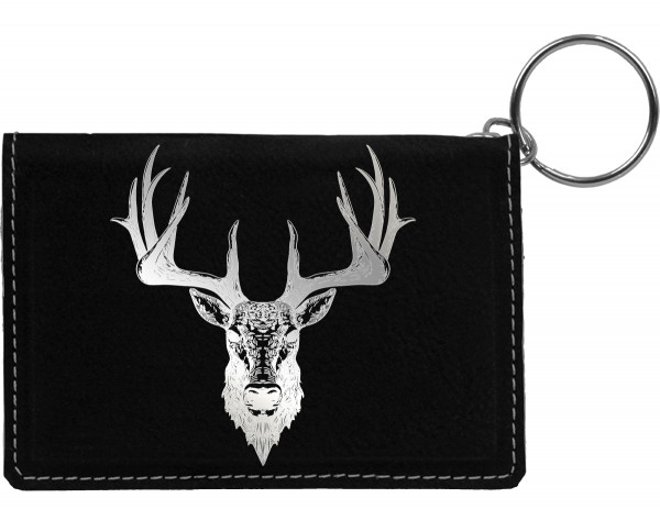 Big Horned Buck Engraved Leather Keychain Wallet | KLE-ANK71