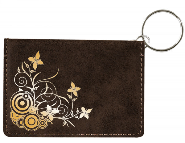 Creeping from the Corner Engraved Leather Keychain Wallet | KLE-FLO76