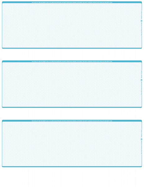Teal Safety Blank 3 Per Page Laser Checks | L3C-BLA-TS
