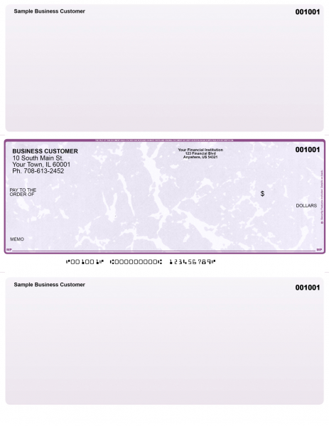 Violet Marble Laser Business One Per Page Voucher Checks- Middle Style | LMC-VM