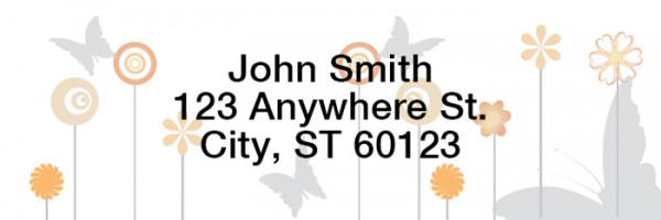Butterflies Floating Narrow Address Labels | LRGEO-22