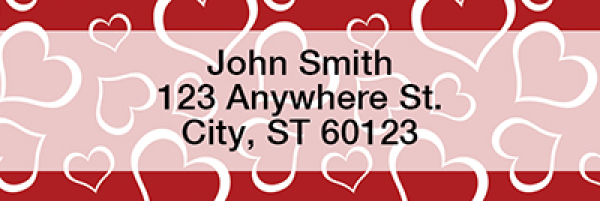 Heart Pattern Narrow Address Labels | LRLOV-17