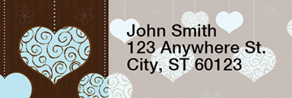 Hanging Hearts Narrow Address Labels | LRRLOV-13