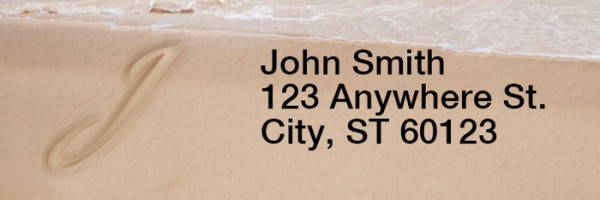 Sand Written Monogram 'J' Narrow Address Labels | LRRMONO-07J
