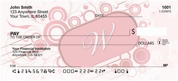 Stylish Monogram 'W' Personal Checks | MONO-03W