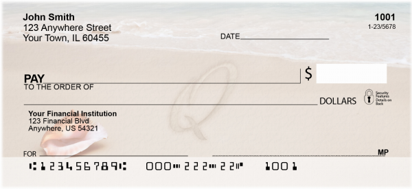 Sand Written Monogram 'Q' Personal Checks | MONO-07Q