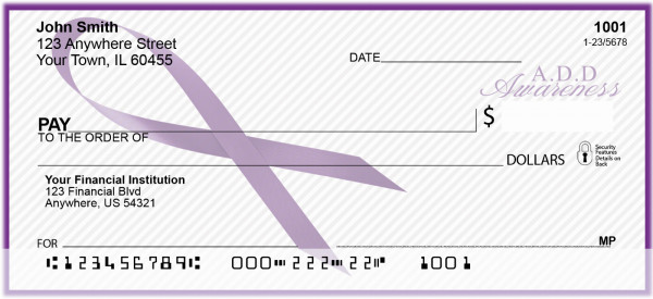 ADD Awareness Ribbon Personal Checks | RIB-03