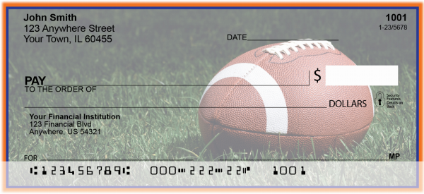 Blue & Orange Football Team Personal Checks | SPT-01
