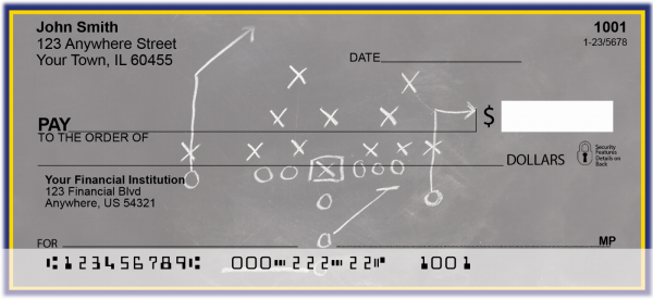 Blue & Yellow Football Team Personal Checks | SPT-07