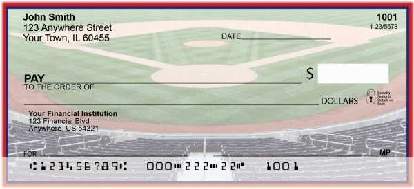 Red & Navy Baseball Team Personal Checks | SPT-17