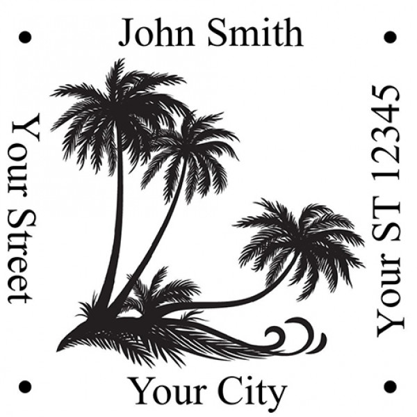 Square Designer Palm Trees Stamp | STA-LAS-DS05